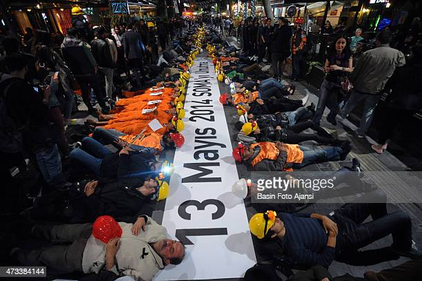 Demonstrators protested AKP government to mark the anniversary,301 miner had died in mining accident in Soma on 13 May 2014.