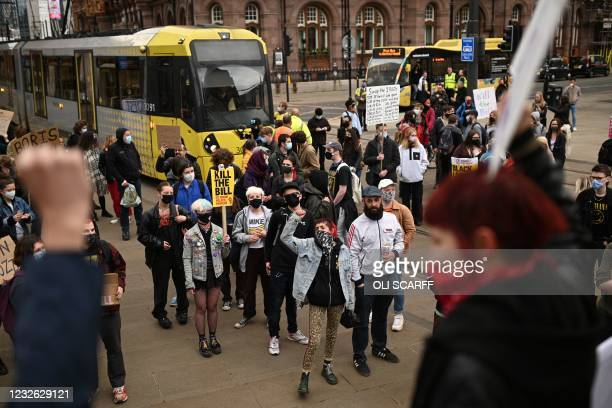 Demonstrators protesting against the Police, Crime, Sentencing and Courts Bill 2021 block the trams in central Manchester on May 1, 2021. - Previous...