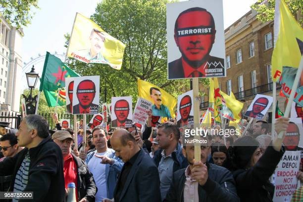 Demonstrators protests Erdogan and his Policies against the visit of Turkish president Recep Tayyip Erdogan in the UK London on May 15 2018 Mr...