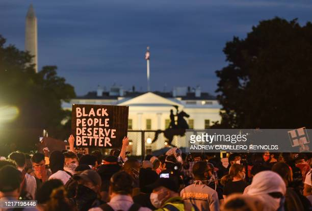 Demonstrators protests the death of George Floyd near Lafayette Square across the White House on June 2 2020 in Washington DCD Antiracism protests...