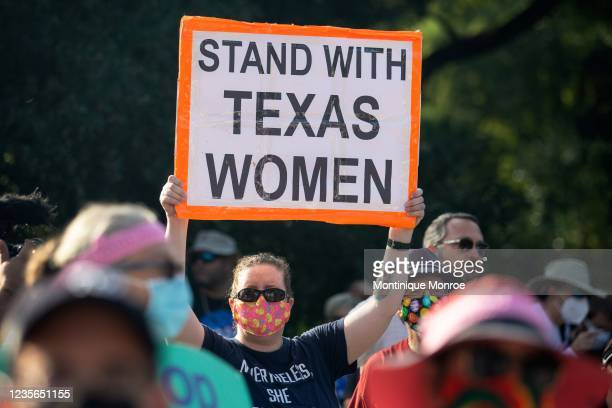 Demonstrators rally against anti-abortion and voter suppression laws at the Texas State Capitol on October 2, 2021 in Austin, Texas. The Women's...