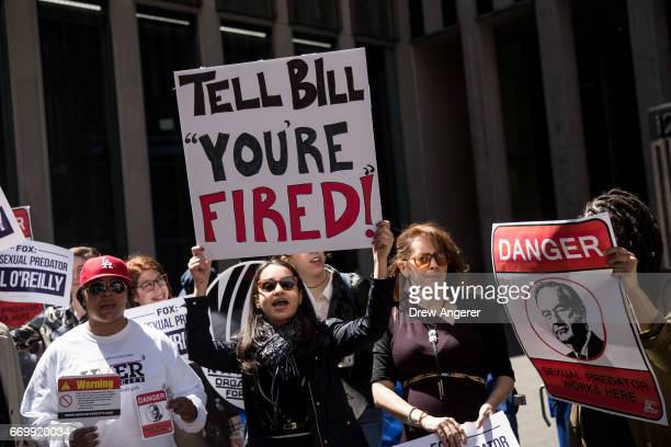 Demonstrators rally against Fox News television personality Bill O'Reilly outside of the News Corp and Fox News headquarters in Midtown Manhattan...