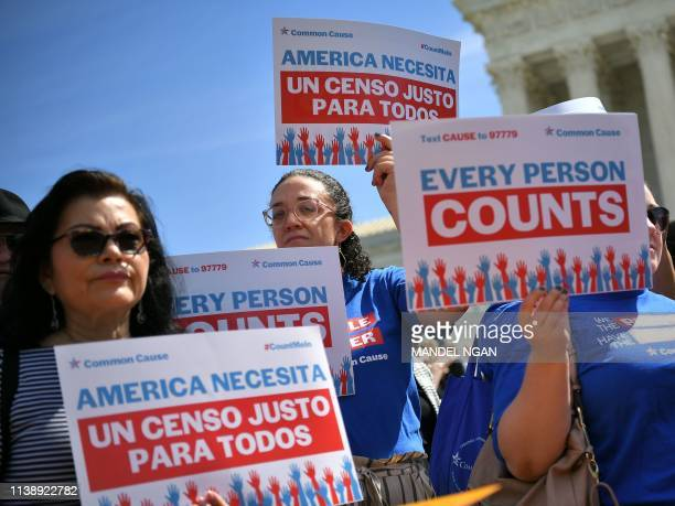 Demonstrators rally at the US Supreme Court in Washington, DC, on April 23 to protest a proposal to add a citizenship question in the 2020 Census. -...