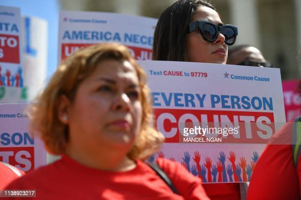 Demonstrators rally at the US Supreme Court in Washington DC on April 23 to protest a proposal to add a citizenship question in the 2020 Census In...