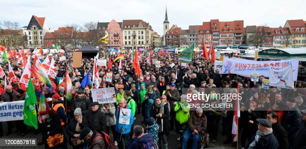 Demonstrators rally for a protest themed Not with us No pacts with fascists any time or anywhere on February 15 2020 in Erfurt capital of Thuringia...