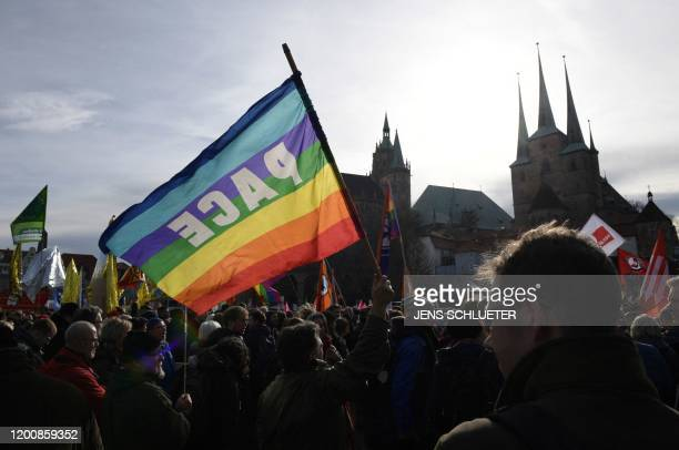 "Demonstrators rally for a protest themed ""Not with us! No pacts with fascists any time or anywhere!"" on February 15, 2020 in Erfurt, capital of..."