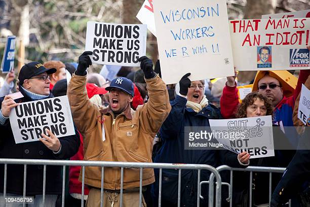 Demonstrators rally in front of city hall in solidarity with union workers across the country on February 26, 2011 in New York City. Early yesterday...
