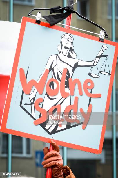 Demonstrators rally in front of the supreme court in Warsaw Poland on October 3 2018 The ruling rightwing Law and Justice party has pushed through...
