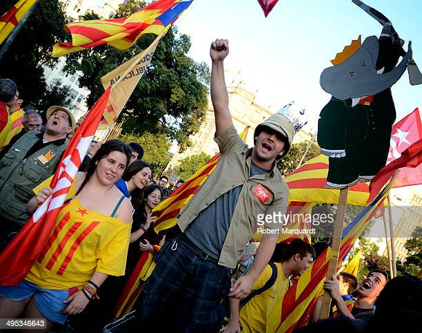 Demonstrators rally in Plaza Catalunya in favor of Catalan independence and Republic on June 2 2014 in Barcelona Spain King Juan Carlos of Spain...