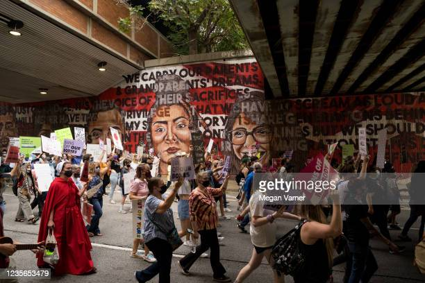 Demonstrators rally in support of women's reproductive rights on October 2, 2021 in Atlanta, Georgia. The Women's March and other groups organized...