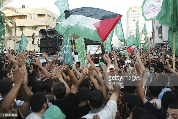 Demonstrators rally near the office of Palestinian Leader Mahmoud Abbas September 19 2006 in Gaza City Gaza Strip Thousands of Palestinians attended...