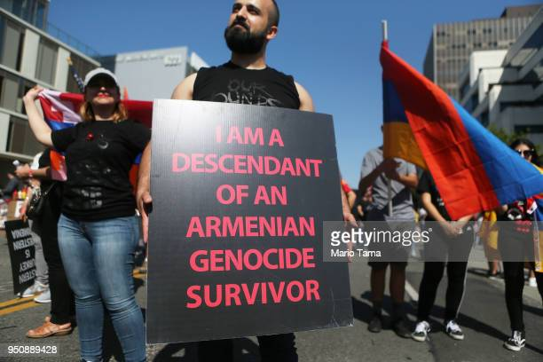 Demonstrators rally outside the Turkish Consulate commemorating the 103rd anniversary of the Armenian genocide on April 24 2018 in Los Angeles...