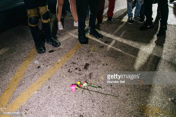 Demonstrators revisit the site where a protester was killed on August 26, 2020 in Kenosha, Wisconsin. On August 25, 17-year-old Kyle Rittenhouse shot...