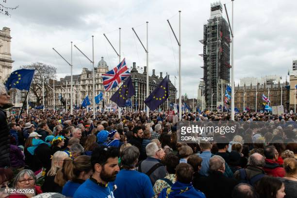 Demonstrators seen gathered to listen to speeches during the protest Over one million protesters gathered at the People's Rally in London demanding a...