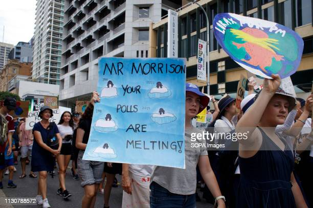 HOUSE BRISBANE QUEENSLAND AUSTRALIA Demonstrators seen holding placards during the protest School and university students teachers parents and other...