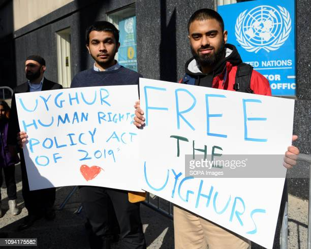 Demonstrators seen holding placards during the rally to encourage the US Department of State to address the Uyghur oppression in China The rally was...