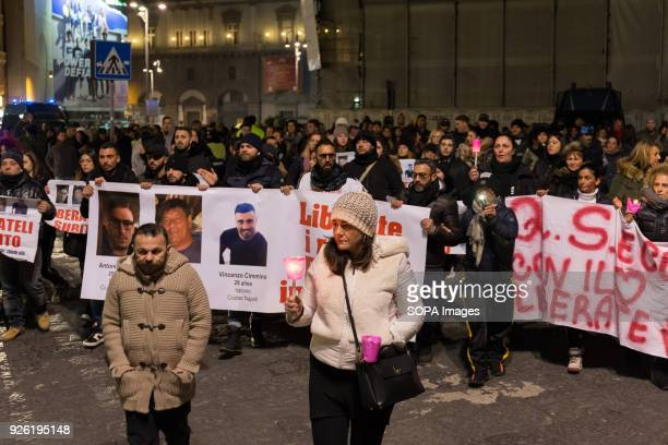 Demonstrators seen marching during the rally Rally organized by the family of the three Neapolitan men kidnapped in Tecalitlàn in Mexico they demand...