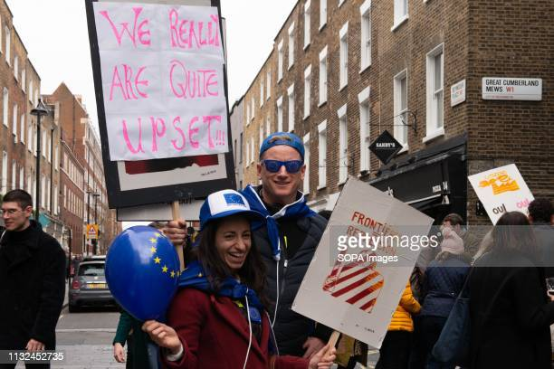 Demonstrators seen with placards during the protest Over one million protesters gathered at the People's Rally in London demanding a second vote in...