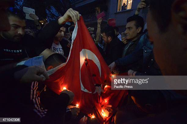 Demonstrators set on fire a Turkish flag Armenians that live in Greece organised a demonstration to remember the 15 million victims as part of...