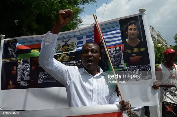 Demonstrators shout slogans A rally in the center of Athens organized from Biafrans that live in Greece to commemorate the victims of Biafra Wars or...
