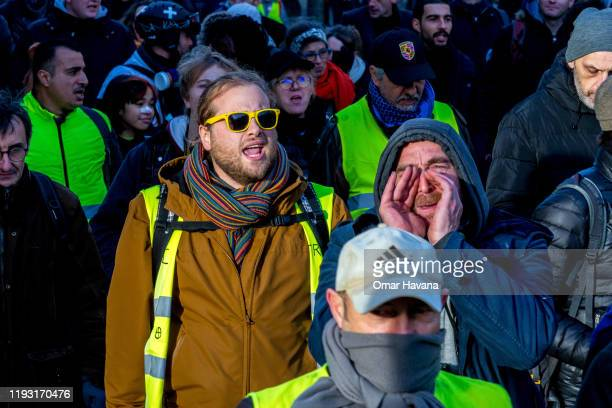 Demonstrators shout slogans against the reforms of the pension system proposed by the French Government during the sixth day of a general strike on...