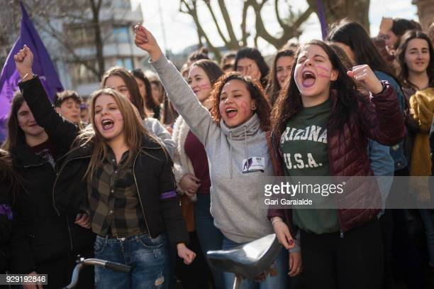 Demonstrators shout slogans as they protest at the Bulebar during a one day strike to defend women's rights on International Women's Day in...