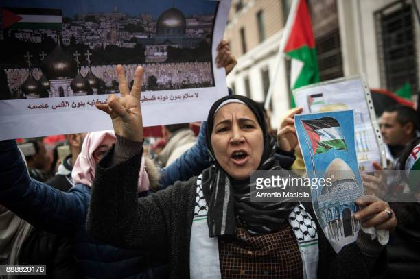Demonstrators shout slogans during a protest against US President Donald Trump's recognition of Jerusalem as Israel's capital in front of the US...