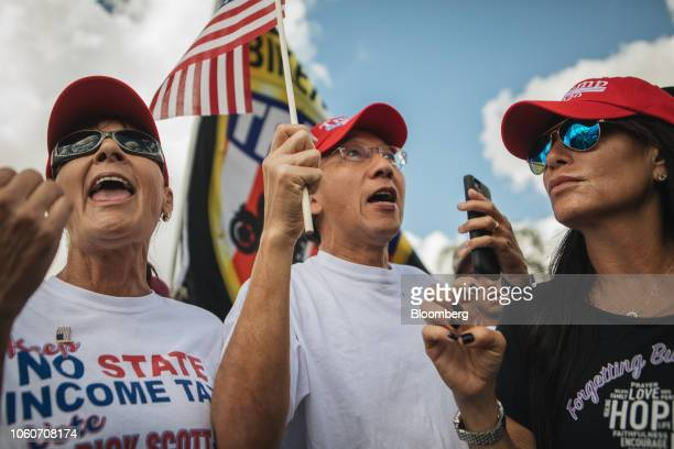 Demonstrators shout slogans during a protest outside the Broward County Supervisor of Elections office in Lauderhill Florida US on Monday Nov 12 2018...