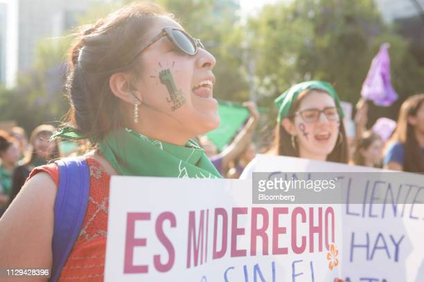Demonstrators shout slogans during a rally on International Women's Day in Mexico City Mexico on Friday March 8 2019 The United Nations first...