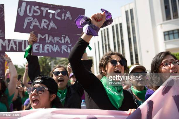 Demonstrators shout slogans during a rally on International Women's Day in Mexico City Mexico on Friday March 8 2020 The United Nations first...