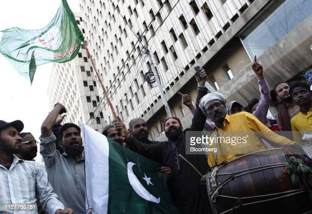 Demonstrators shout slogans during an antiIndia protest in Karachi Pakistan on Wednesday Feb 27 2019 Pakistani fighter jets have shot down two Indian...