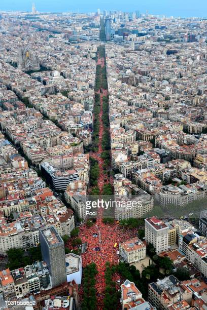 Demonstrators take part in a march celebrating the Catalan National day on September 11 2018 in Barcelona Spain The Spanish northeastern autonomous...