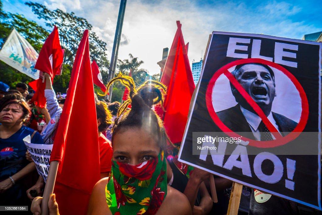 Protestors Rally Against Presidential Candidate Jair Bolsonaro In Sao Paulo : News Photo
