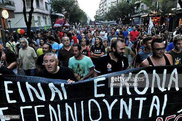 Demonstrators take part in a protest against government austerity measures and reforms of the third Greek bailout at the annual Thessaloniki...