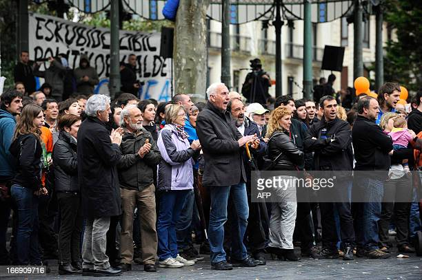 Demonstrators take part in a protest against the incarceration of eight members of Basque proindependence youth organization SEGI in the northern...