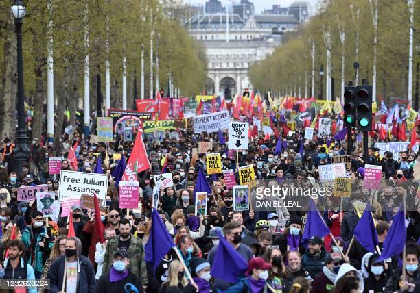 "Demonstrators take part in a protest against the Police, Crime, Sentencing and Courts Bill 2021 in central London on May 1, 2021. - Previous ""Kill..."
