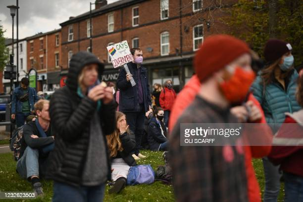 Demonstrators take part in a protest against the Police, Crime, Sentencing and Courts Bill 2021 in Sheffield, norther England, on May 1, 2021. -...