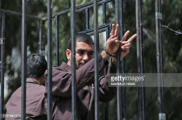 Demonstrators take part in a rally marking Palestinian Prisoners' Day and calling for the release of jailed Palestinians held in Israeli jails on...