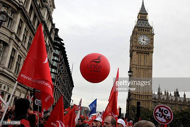 Demonstrators take part in a TUC march in protest against the government's austerity measures on October 20 2012 in London England Thousands of...