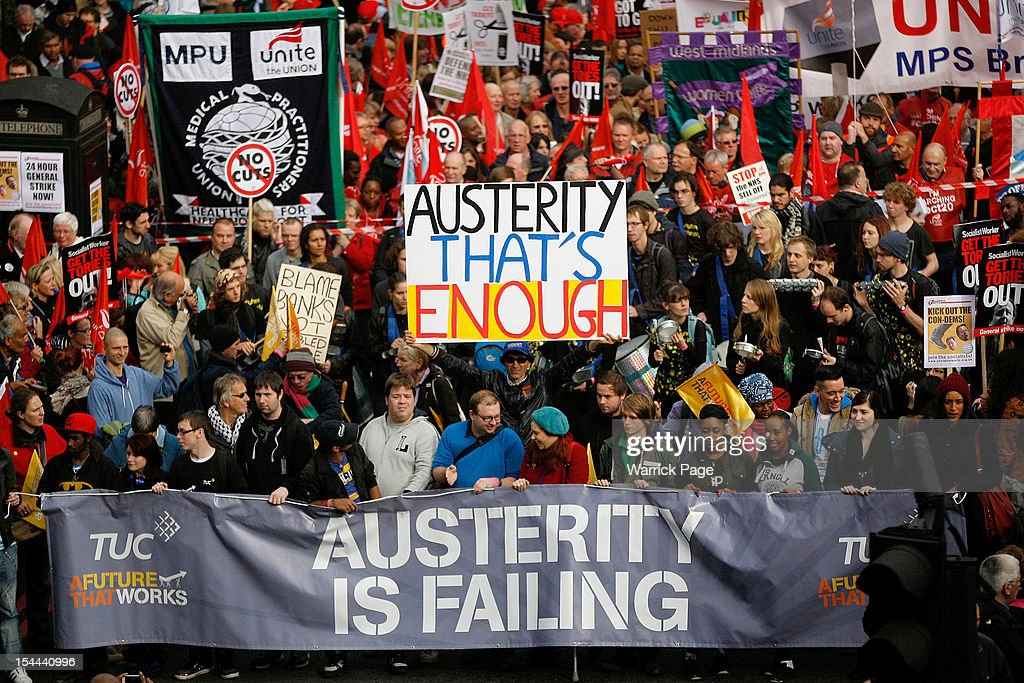 Families And Members Of The TUC Demonstrate Against Austerity Cuts : News Photo