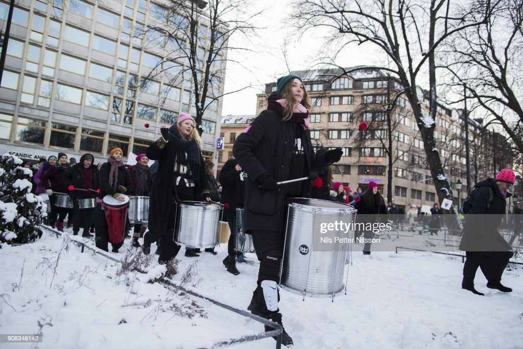 Protesters Take To Streets Of Stockholm For The 2018 Women's March