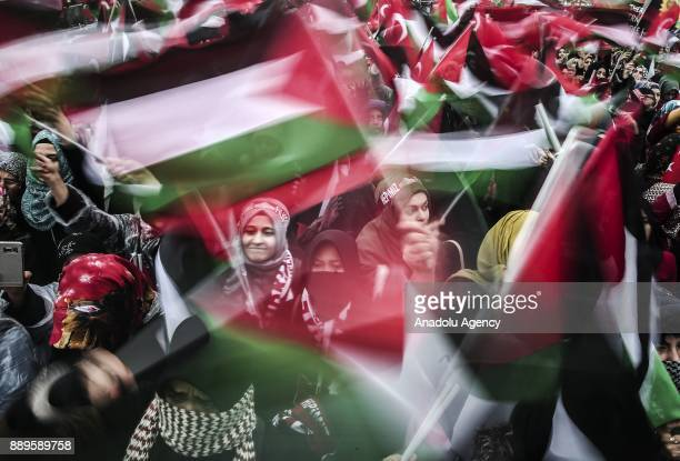 Demonstrators take part in the Jerusalem Belongs to Islam rally held by members of non governmental organizations after US President Donald Trump's...