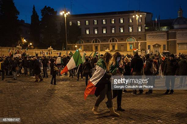 Demonstrators take part in the protest of the Forconi Movement at Piazza del Popolo on December 18, 2013 in Rome, Italy. The I Forconi movement or...
