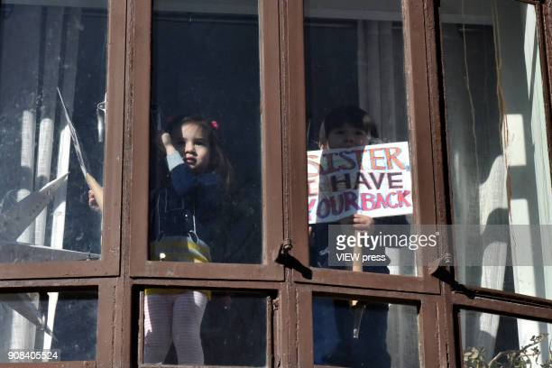 Demonstrators take part in the Women's March 2018 on January 20 2018 in New York city Big crowds were seen at rallies around the country during the...
