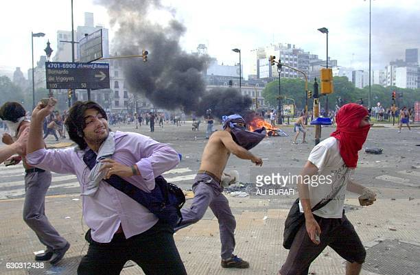 Demonstrators through stones at the police 20 December 2001 in Buenos Aires Four people were killed 20 December in clashes between police and...