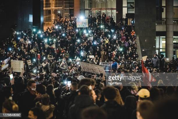 Demonstrators turned on the flash of their smartphones on Bastille Square to defend the freedom values of France this Saturday, November 28 as...
