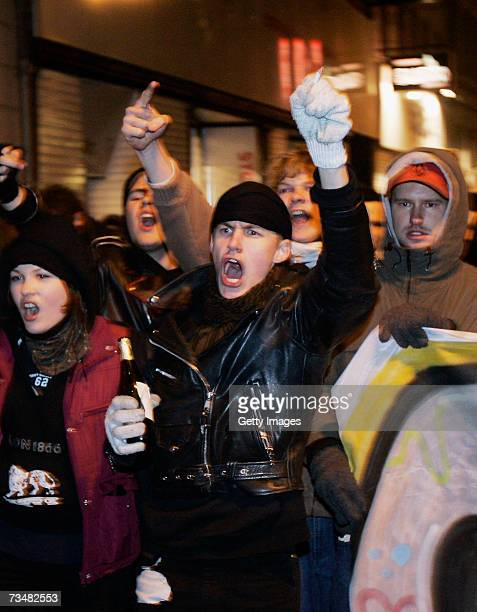 Demonstrators walk the streets during a speight of riots on March 2 2007 in Copenhagen Denmark The clashes erupted at the Youth House building in the...