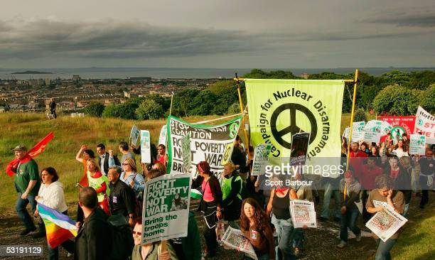 Demonstrators walk up Calton Hill during the Stop The War Coalition March on July 3 2005 Edinburgh Scotland The march was one of several ahead of The...