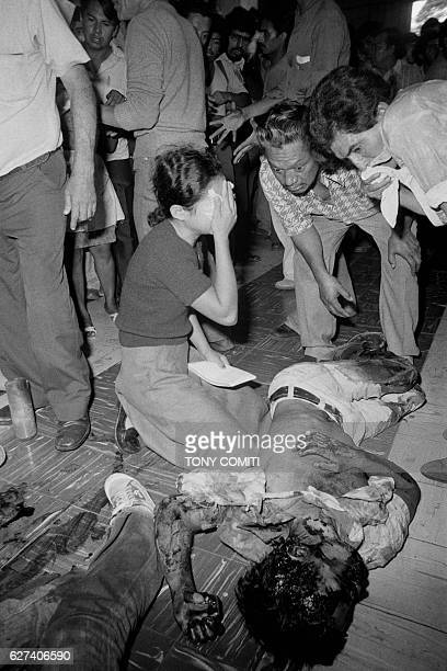 Demonstrators were shot by the army on the steps of the San Salvador cathedral where they had gathered to show their support of the commanos of the...