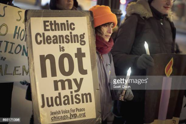 Demonstrators with Jewish Voice for Peace Chicago protest President Donald Trump's decision to recognize Jerusalem as the capital of Israel on...